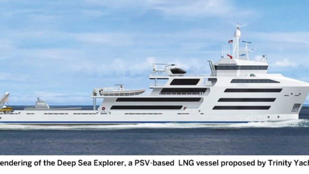 A rendering of the Deep Sea Explorer, a PSV-based  LNG vessel proposed by Trinity Yachts.