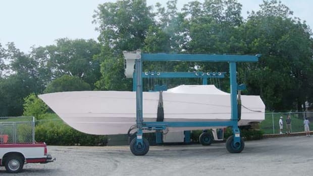 After modifications, a 51-footer with triple IPS units heads for some open-water testing.