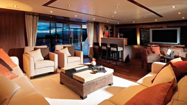 "Not content with simply providing a skylounge aboard the yacht, Sunseeker added this modern ""upper saloon"" to complement the main saloon."