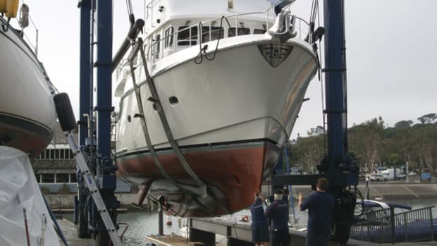 A Nordhavn 47 gets ready to splash at Dana Point Shipyard, Inc., in Dana  Point, California.