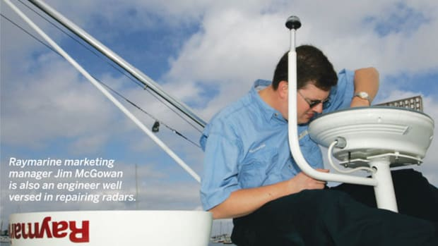 Raymarine marketing manager Jim McGowan is also an engineer well versed in repairing radars.