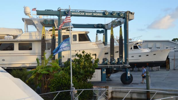 A Fleming 65 prepares to launch at Whiticar Boat Works in Stuart, Florida