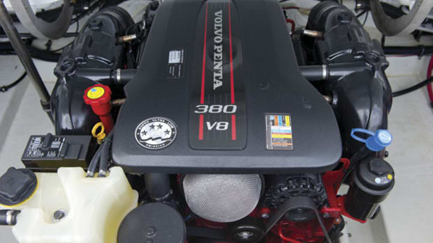 Volvo Penta's new V8-380, lighter and smaller than her V-8 predecessors, installed in a Formula 26 Sun Sport.