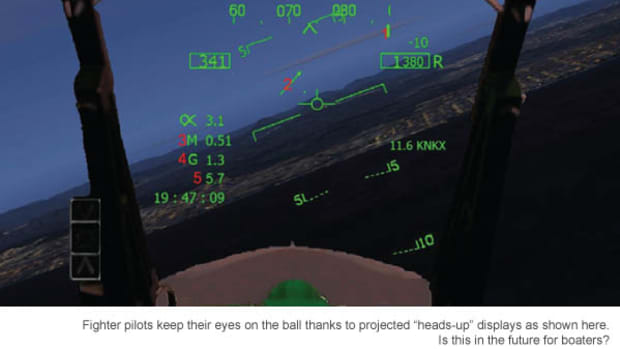 "Fighter pilots keep their eyes on the ball thanks to projected ""heads-up"" displays as shown here. Is this in the future for boaters?"