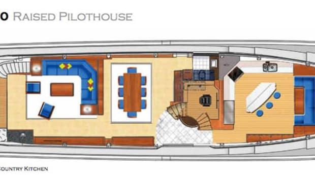 Hatteras 100 Raised Pilothouse - maindeck layout with country kitchen