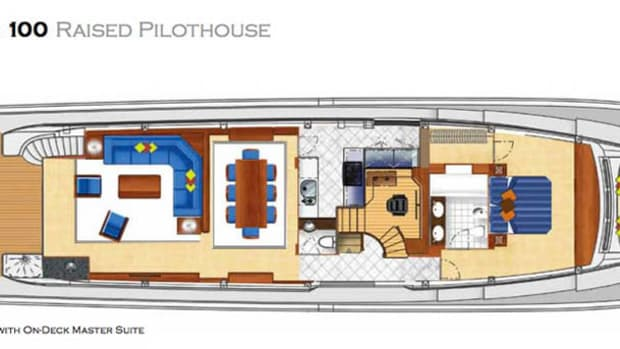 Hatteras 100 Raised Pilothouse maindeck layout with on-deck master suite