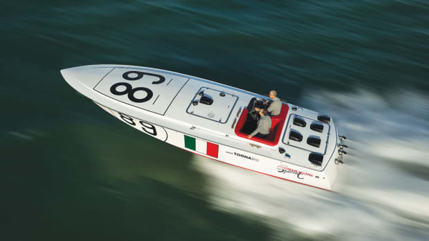 """White Tornado"", a 1969 Bertram Race Boat"