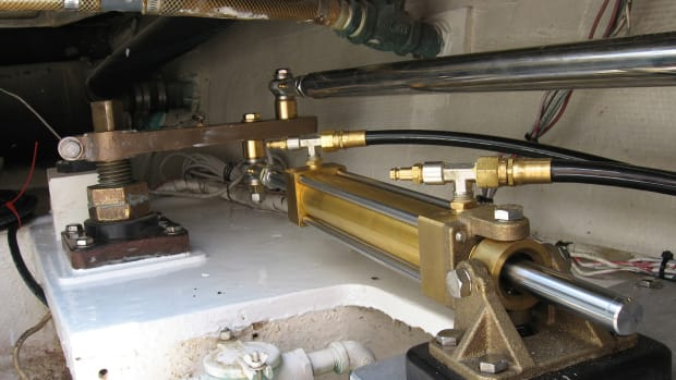 New steering hydraulics on an old boat