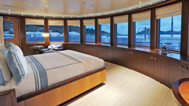 Typically Lürssen: The owner's bedroom has fantastic views foward.