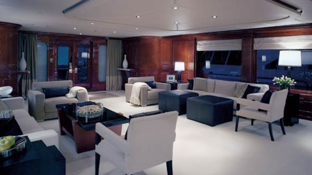 Christensen says this main saloon furniture arrangement is a first for one of its yachts. Usually, the builder has a cabinet separating the port and starboard seating areas.