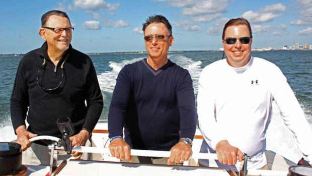 Bob DeNisco Sr. mans the helm as his sons Bob Jr. and Scott enjoy the ride.