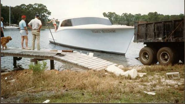 Years ago Miller Marine launched its yachts with a dumptruck.