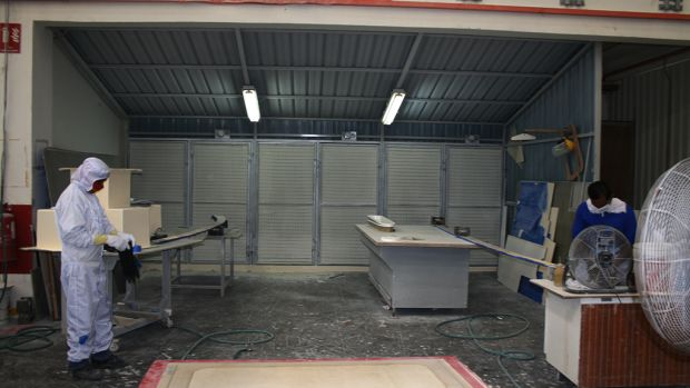 Grinding booths at Grand Banks' Malaysian Facility