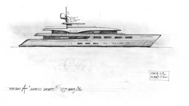 Renderings and sketches courtesy of Benetti and RWDAn early sketch shows a raked bow as a possibility.