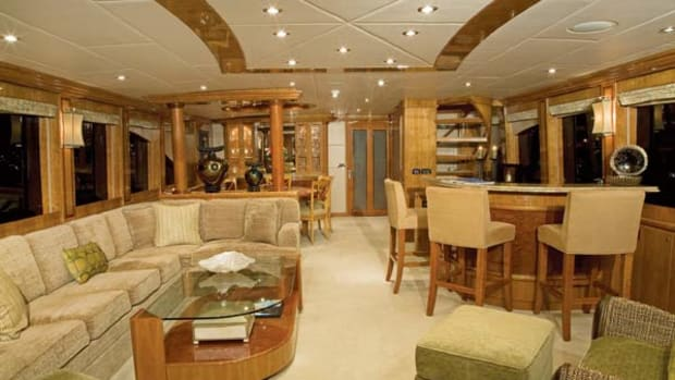The Frains enjoy cruising with children, so there are well-thought-out seating areas in the main saloon (pictured here), galley, and formal dining area.