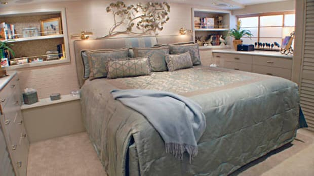Neptune Group YachtingThe master suite is soundproofed by four inches of dead space.