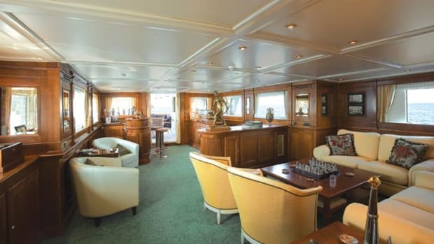 Compact but comfortable: Savvy's saloon contains a games table and a bar (in the aft corner, to starboard upon entering from the aft deck).