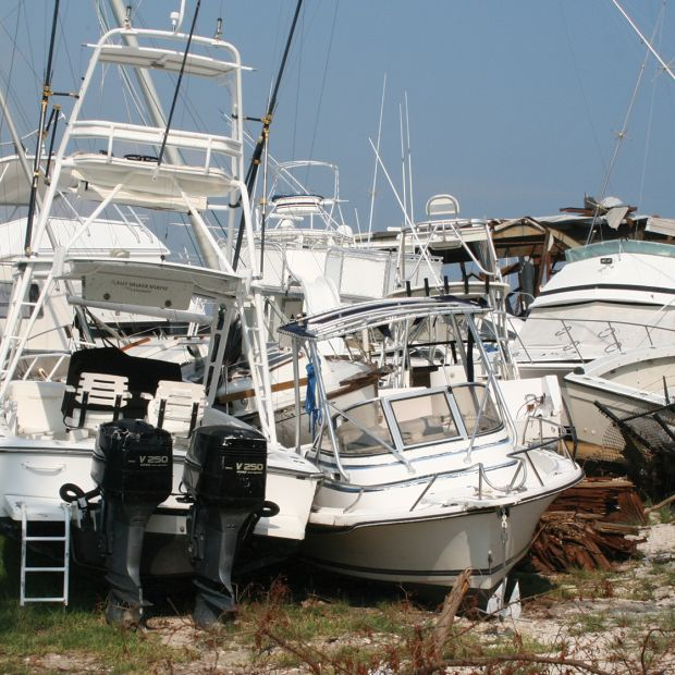 Hurricane-damaged boats