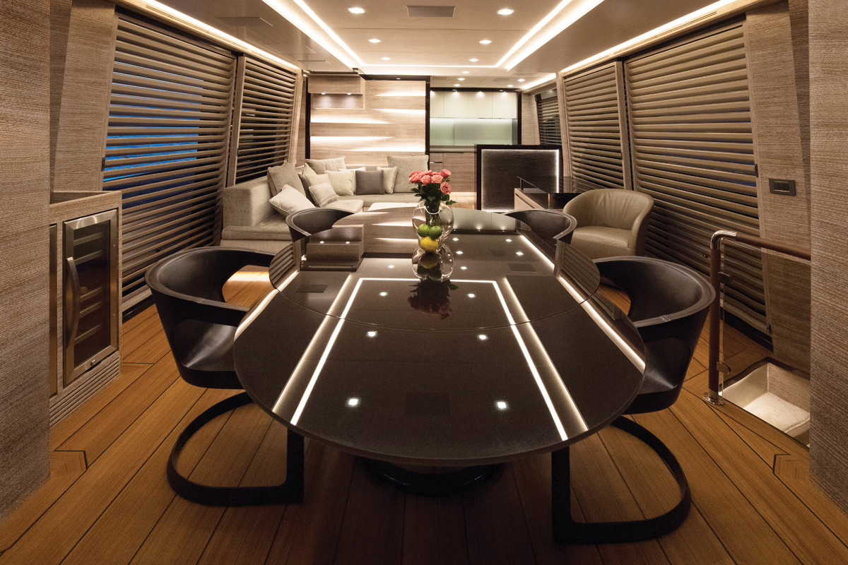The futuristic interior design of the 76 Suprema showcases Adler Yacht's philosophy, which is forward-thinking, indeed.