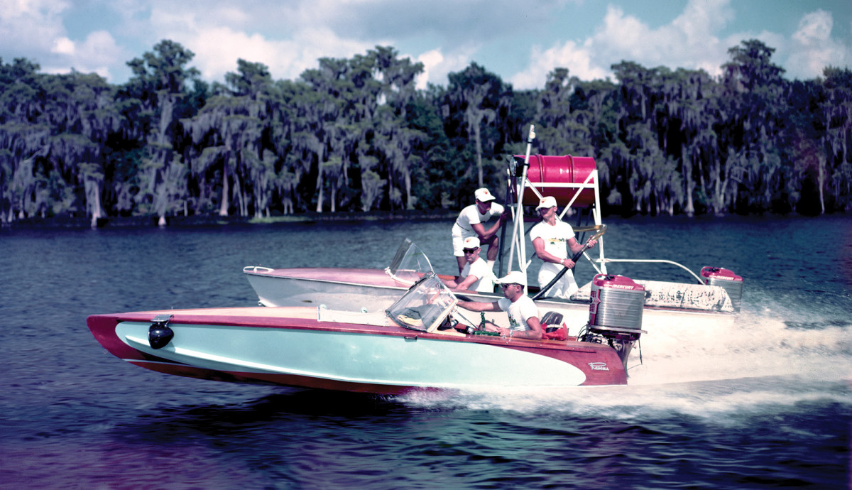 In the late '50s, Operation Atlas—an endurance trial that saw two runabouts circle Lake X nonstop for 35-days—bolstered Merc's reputation for gutsy engineering. Fueling was done on the fly (shown here).