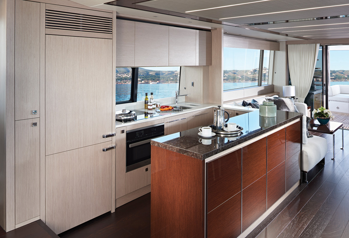 An island divides the galley from the salon and provides added counter space.
