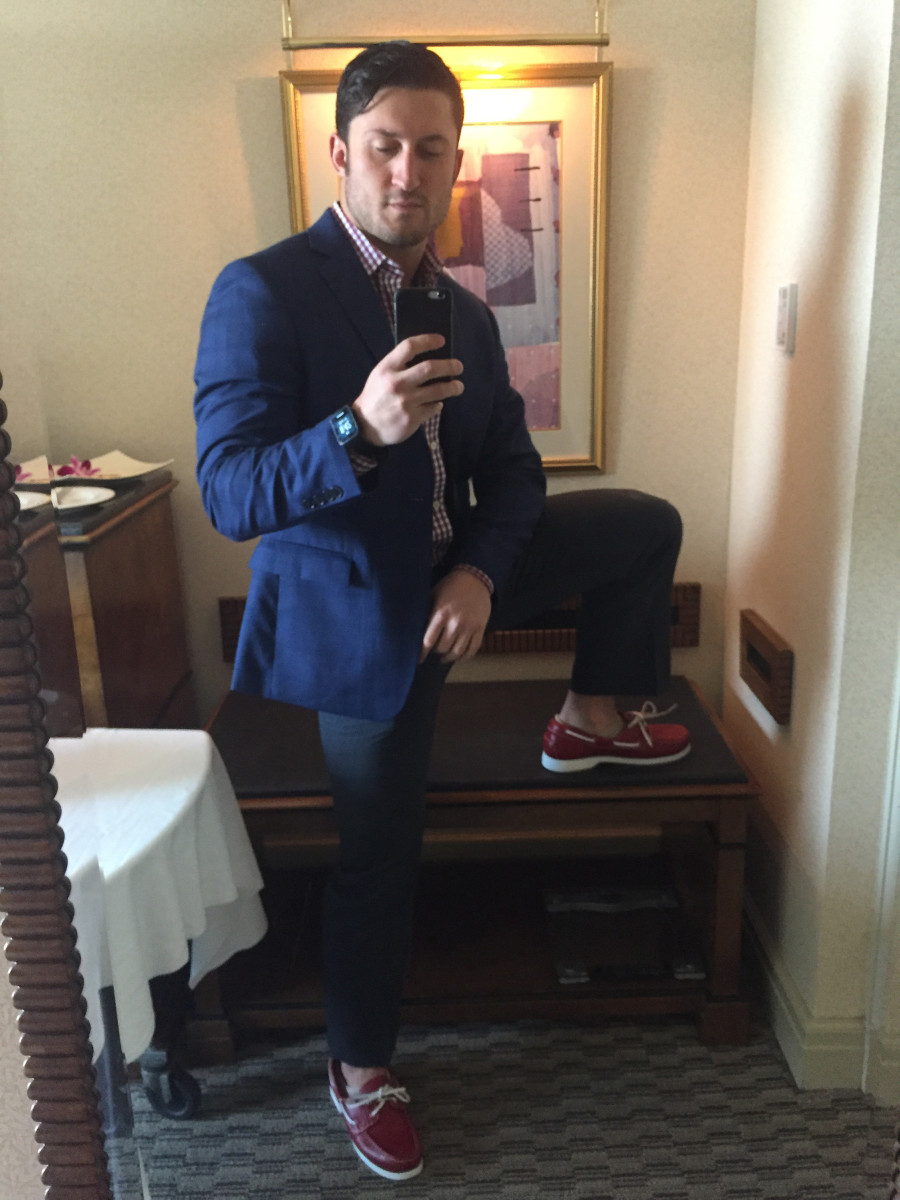 Simon Murray in red boat shoes