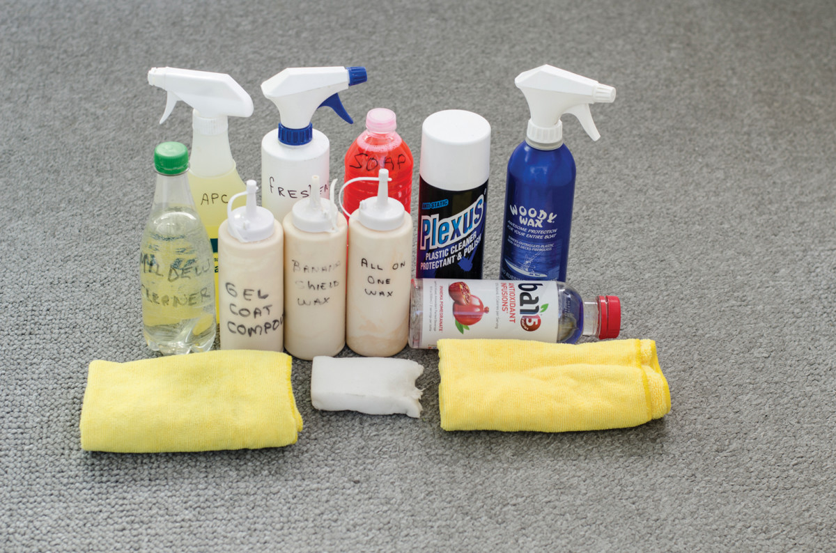 The old, recycled bottles shown above hold modern, environmentally correct cleaning and restorative products.