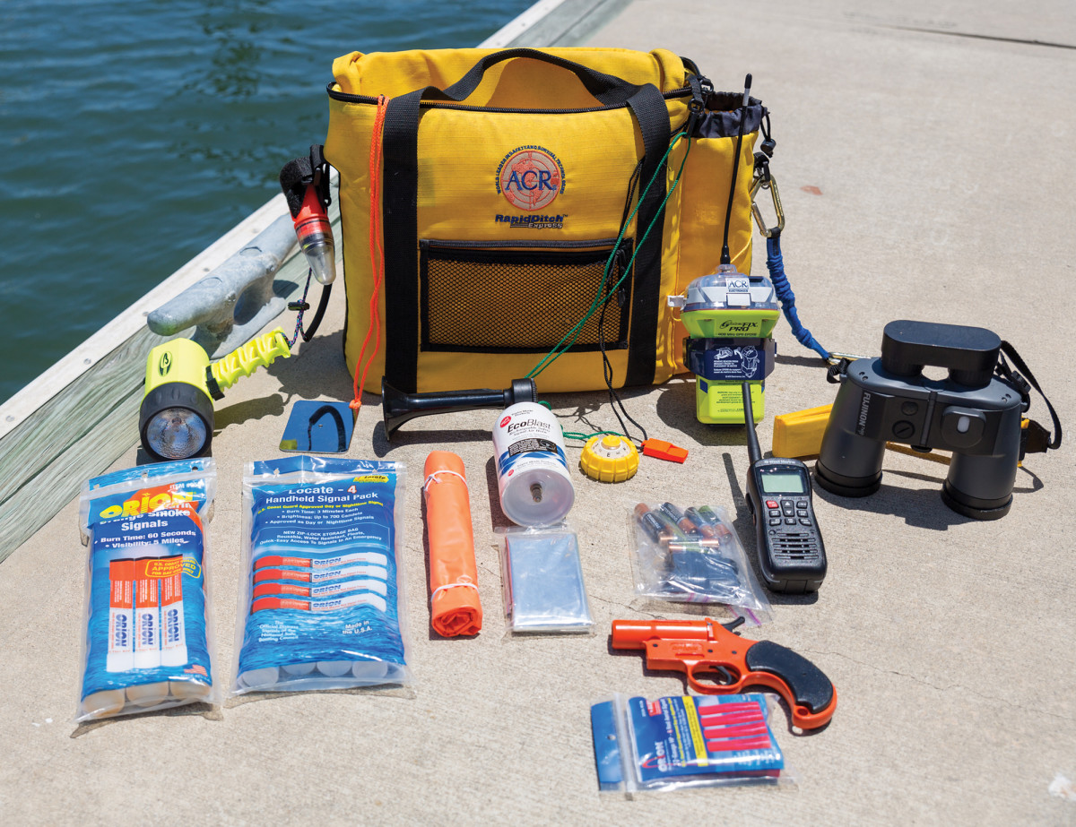 A well-stocked ditch bag is imperative for survival at sea.