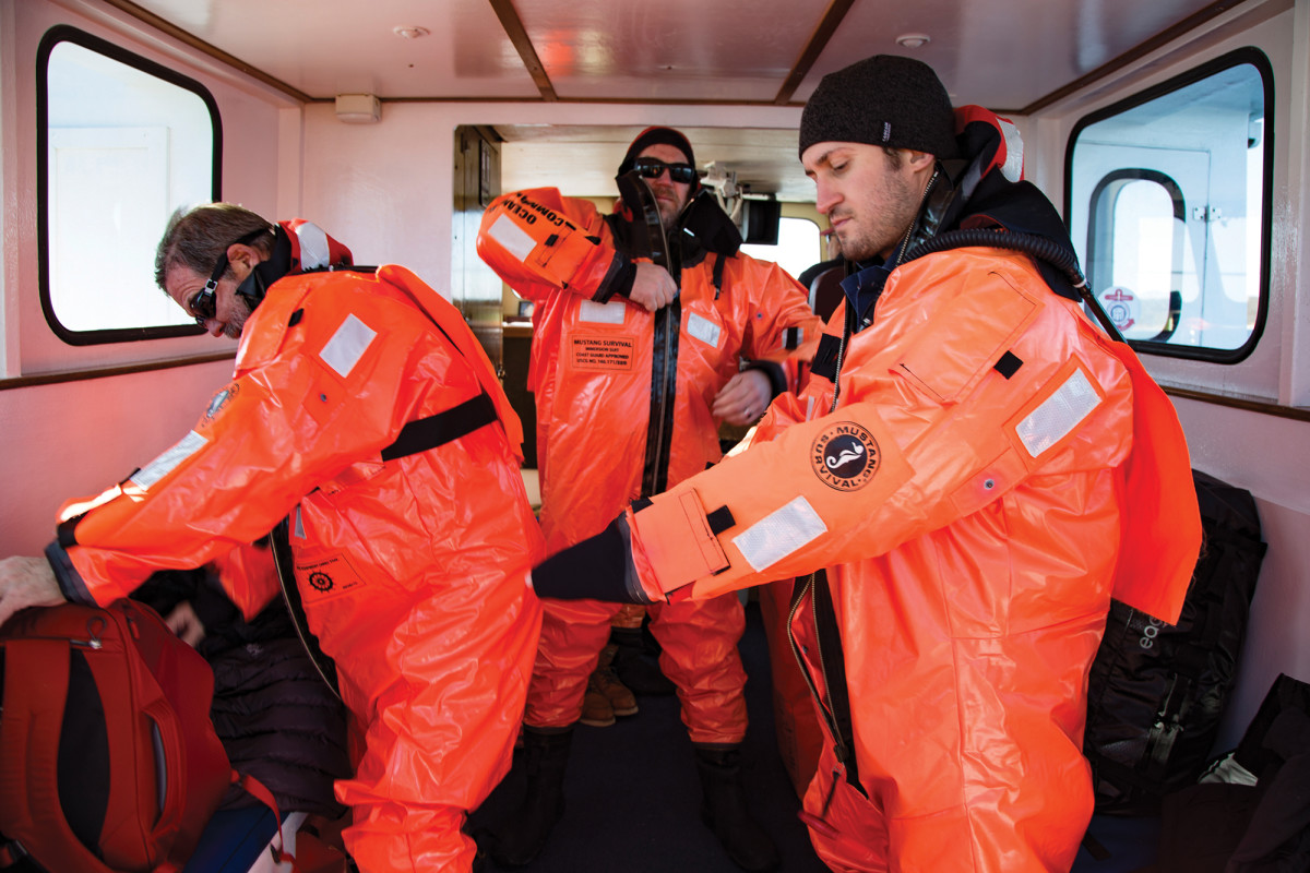 Even though it was freezing outside, the instructor told us we would be sweating in our survival suits.