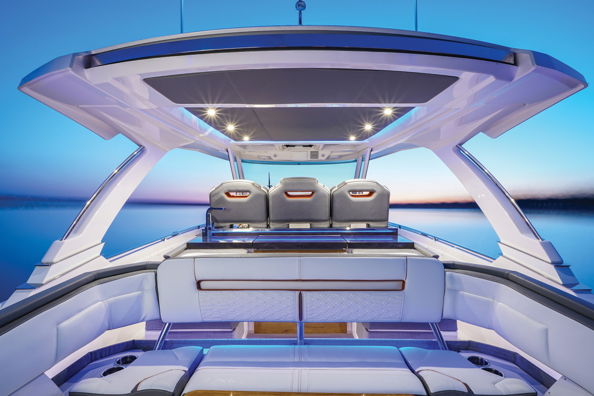 The engineering expertise of Tiara shows in the dramatic lines of the hardtop with three skylights, which the builder makes in-house.