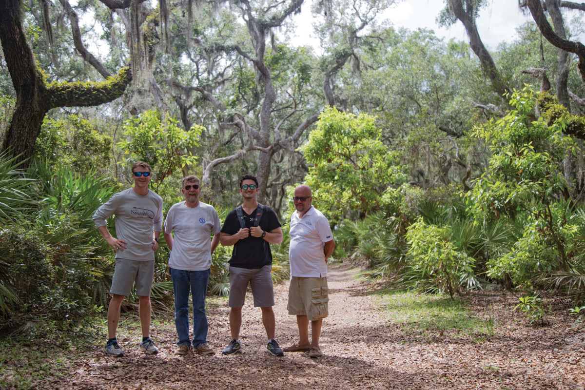 Dan Harding, Bill Pike, Simon Murray and John Turner on Cumberland Island.
