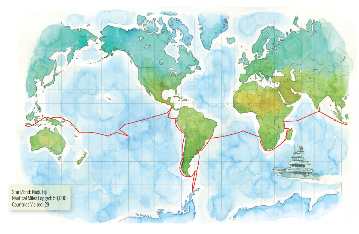Map of the voyage of the Reliance