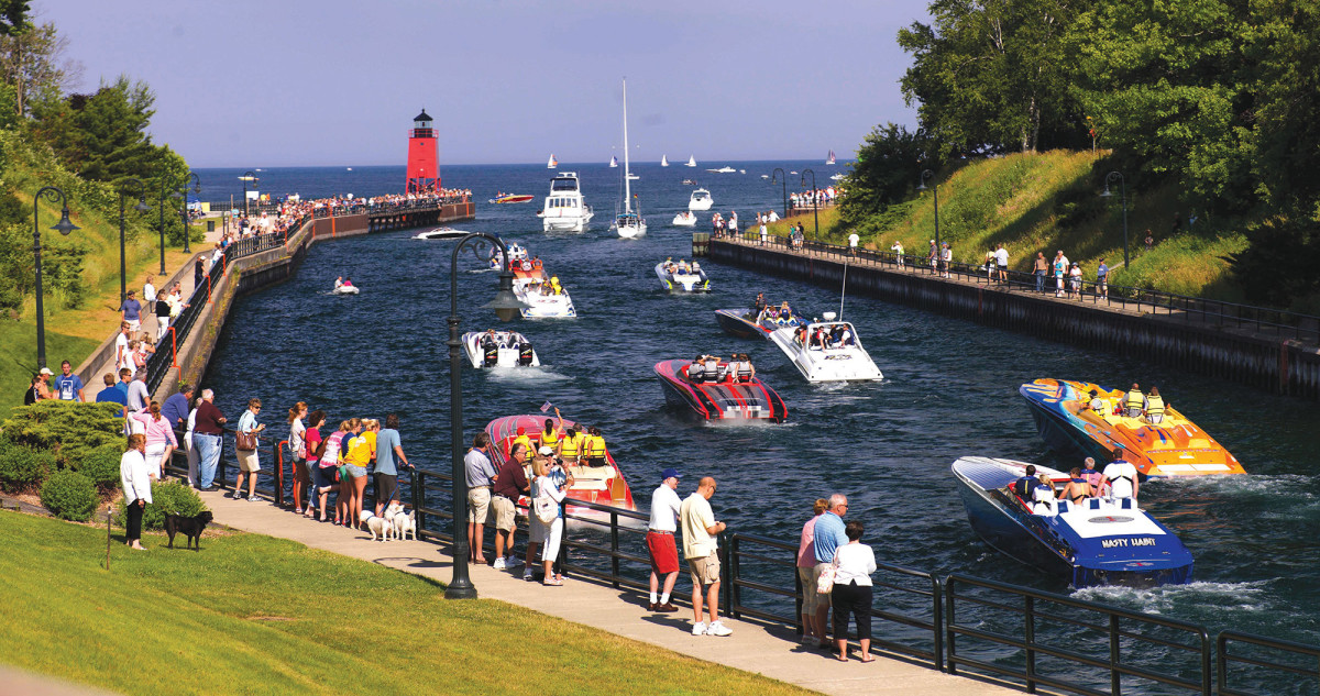The canal leading from Charlevoix to Lake Michigan.
