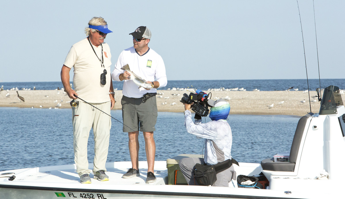 Recording an episode of Anglers Journal