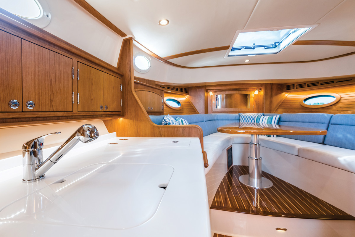 Cherry wood is standard in the cabin, but teak is an option on the semicustom 40.