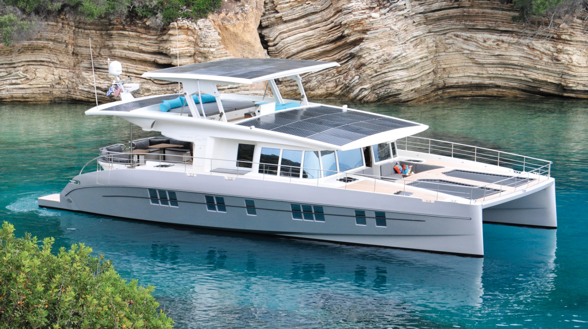 The solar-powered Silent 64 is the first model to be built by Silent Yachts.