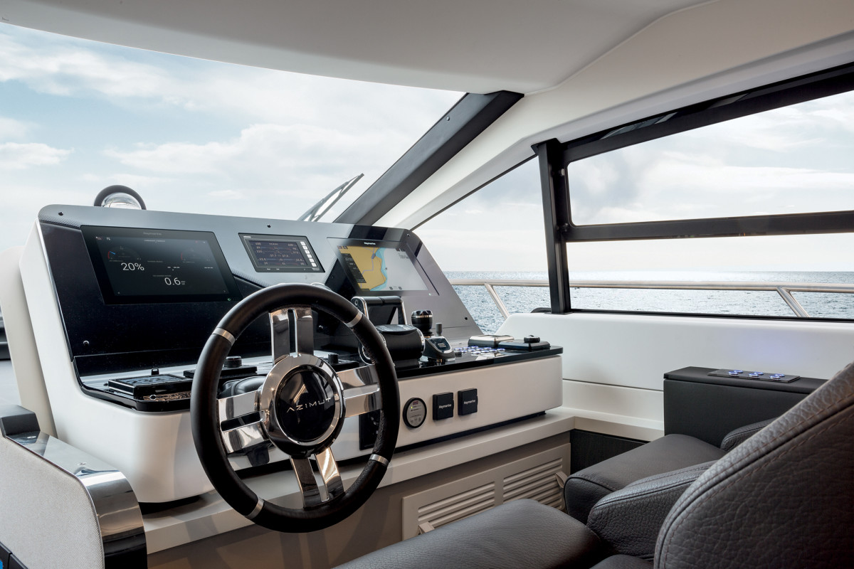 As many have come to expect, the helm is exceptionally clean and sightlines are excellent. Large windows allow a summer breeze to wander in.