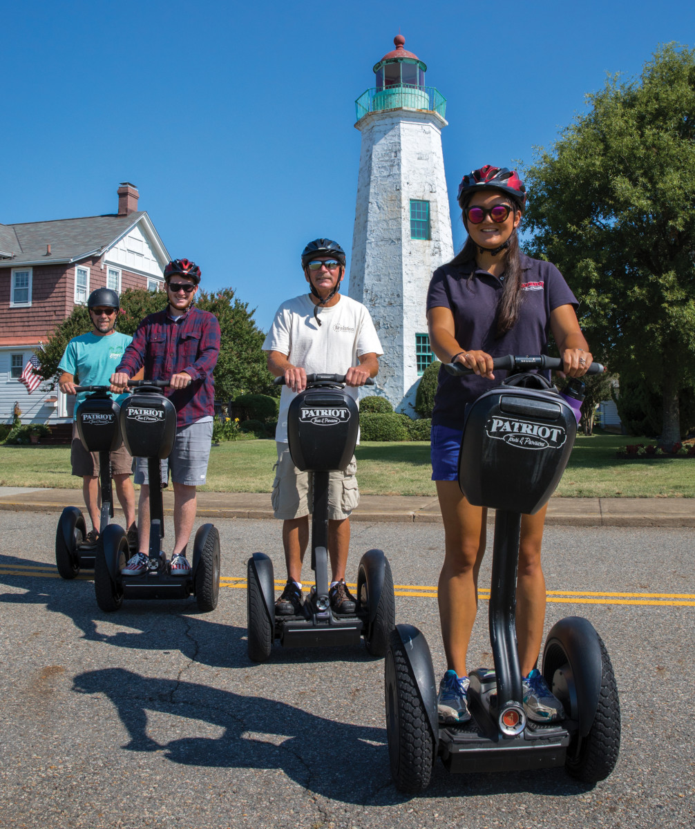 Visitors tour town on Segways.