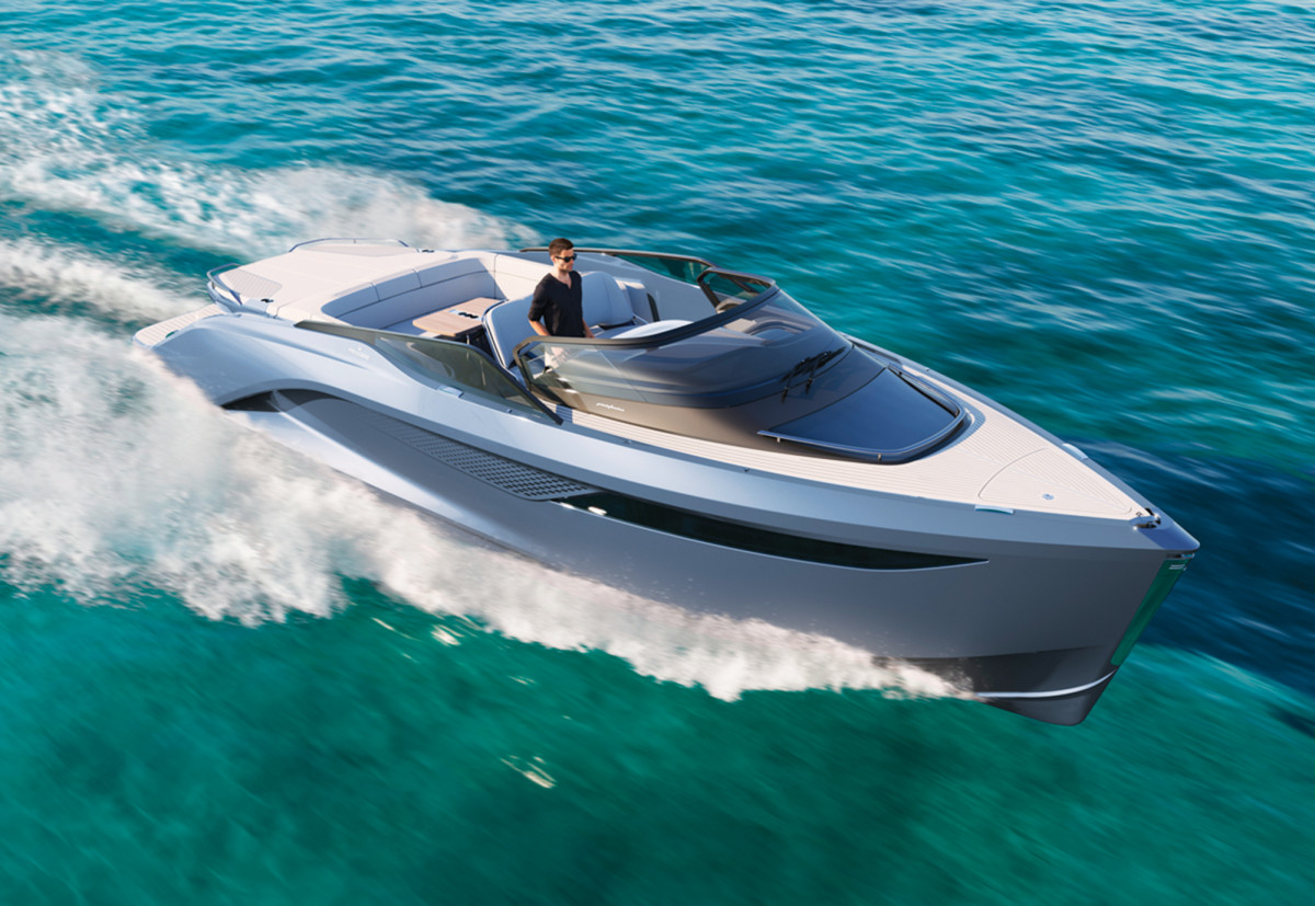 The new R35 from Princess Yachts has two retractable T-shaped foils installed in the hull to create lift or downforce as needed.
