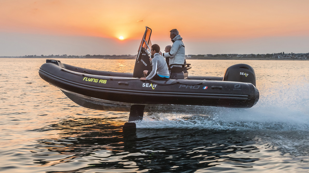 This 18-foot prototype RIB built to SEAir specs by Zodiac features a foiling system that retracts into the helm when not in use.