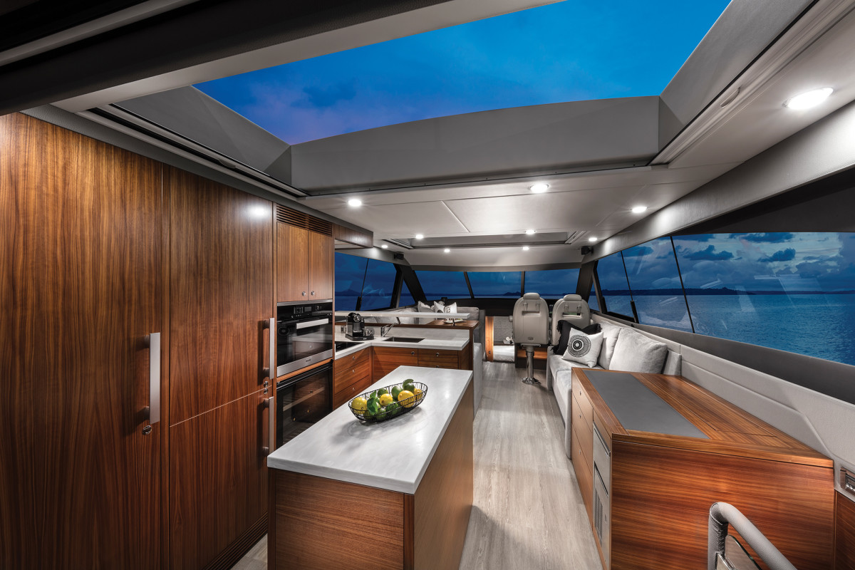 The option for a second sunroof over the aft galley (there's a forward sunroof as well) adds natural light to a space that is usually shaded.