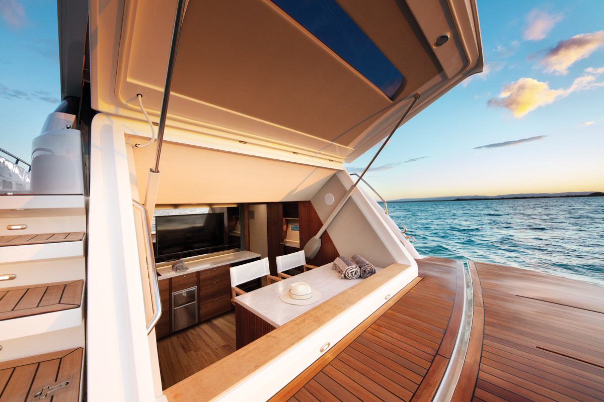 Customization is the name of the game with the aft cabin, which can be arranged as a beach club, stateroom, tender garage and more.