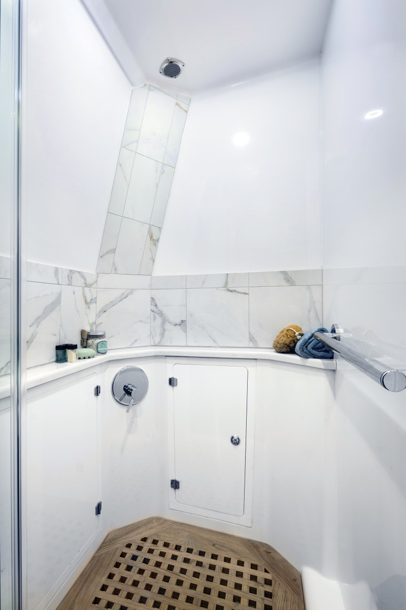 The shower has NBA-player headroom.