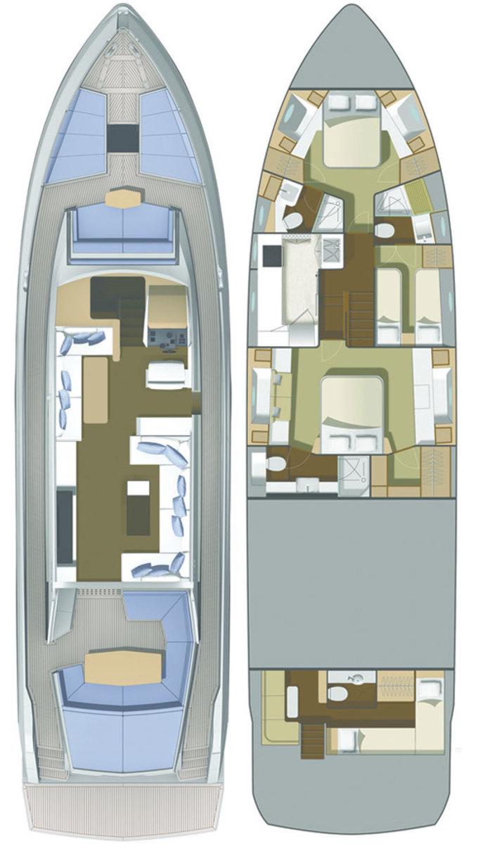 Numarine 70 HT 3-cabin layout