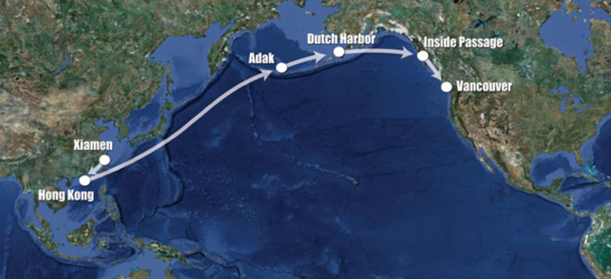 Map of the vessel's route across the Pacific Ocean