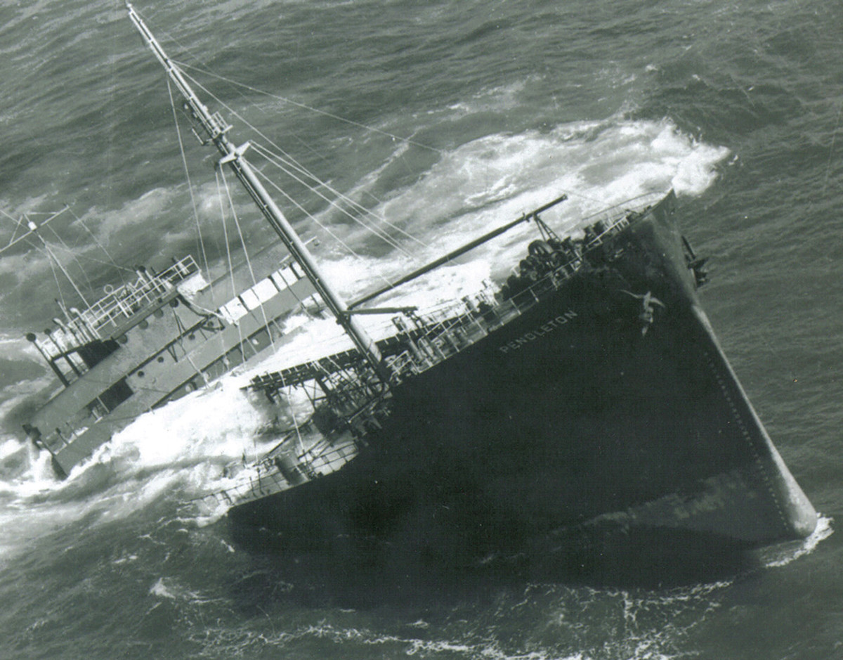 The sea tears the Pendleton bow from her stern.