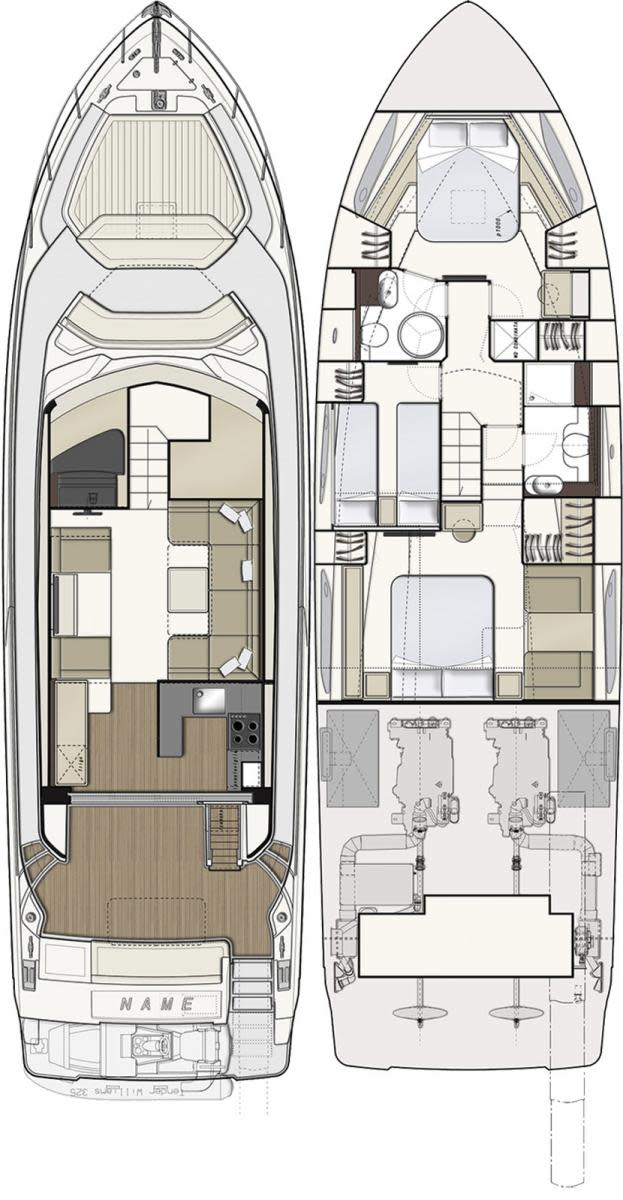 Ferretti 550 layout diagrams