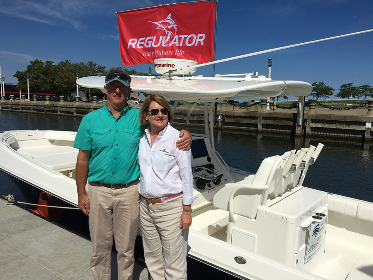 President of North Carolina's Regulator Marine, Joan Maxwell with Regulator dealer Rocky Piacentino of Catawba Moorings, Inc. of Port Clinton, Ohio