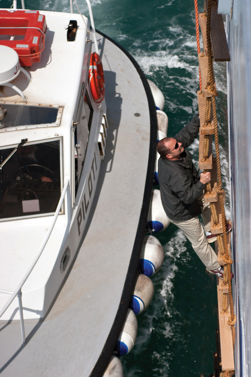 Boarding a ship in calm seas is dangerous enough; in rough seas one misstep could be a deadly mistake.