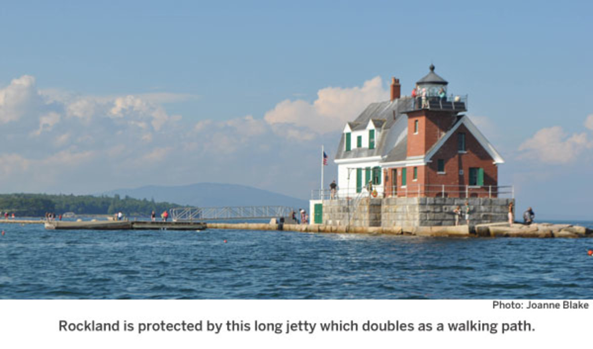 Rockland is protected by this long jetty which doubles as a walking path.